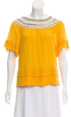 3.1 Phillip Lim Silk-Blend Short Sleeve Top