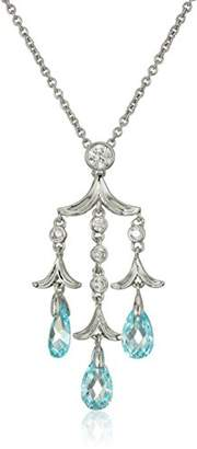 Nicole Miller Briolette Chandelier Rhodium/Blue Pendant Necklace