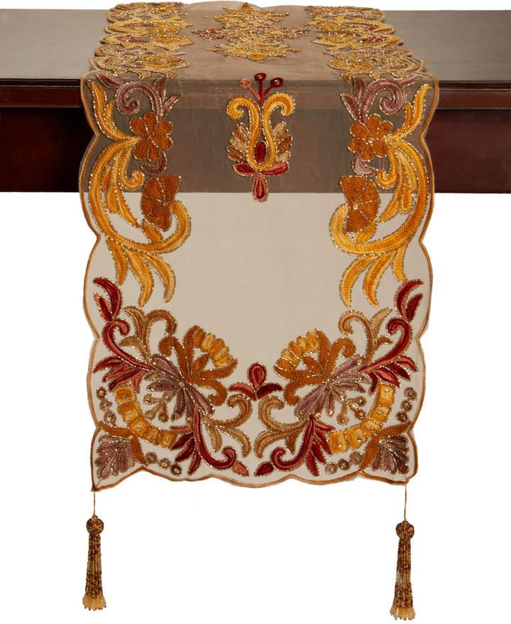 K & K Tabletops Embroidered Tassel Table Runner