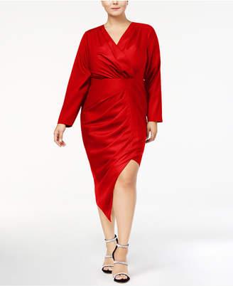 Monif C Trendy Plus Size Asymmetrical Faux-Wrap Dress