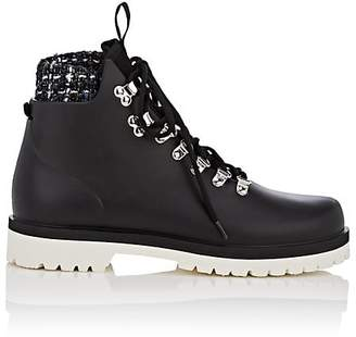 Barneys New York Women's Rubber & Tweed Lace-Up Ankle Boots