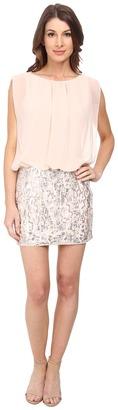 Aidan Mattox Contrast Beaded Skirt Blousson Dress $195 thestylecure.com