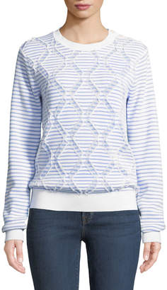 Derek Lam 10 Crosby Striped Cotton Crewneck Pullover Sweater