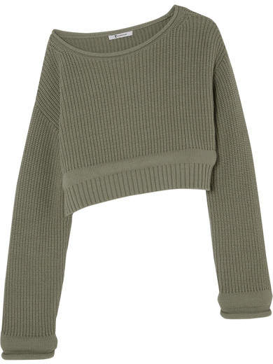 T by Alexander Wang - Cropped Off-the-shoulder Cotton-blend Sweater - Army green