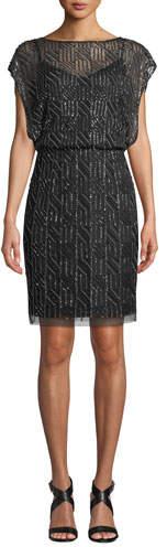 Aidan Mattox Geometric Beaded Short-Sleeve Blouson Dress