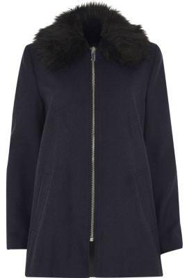 River IslandRiver Island Womens Navy blue faux fur collar swing coat