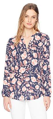 Adrianna Papell Women's Long Sleeve Printed Blouse