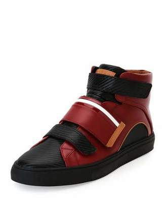 Bally Herick Leather Low-Top Sneaker, Red/Black $525 thestylecure.com