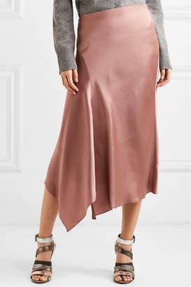 Brunello Cucinelli Asymmetric Satin Midi Skirt - Antique rose