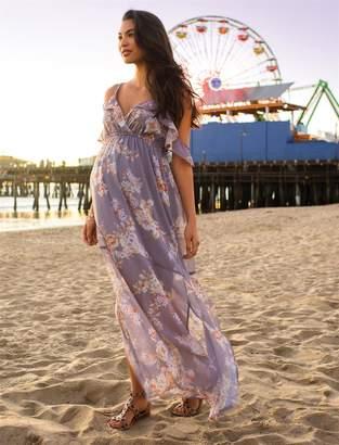 Jessica Simpson Motherhood Maternity Ruffled Maternity Maxi Dress