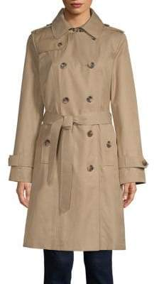 London Fog 38 Double-Breasted Hooded Trench Coat