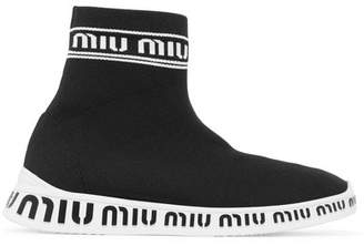 Miu Miu Logo-embossed Stretch-knit High-top Sneakers - Black