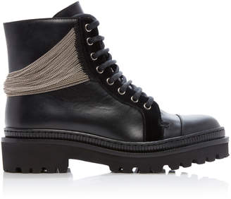 Balmain Muse Chain Leather Combat Boots