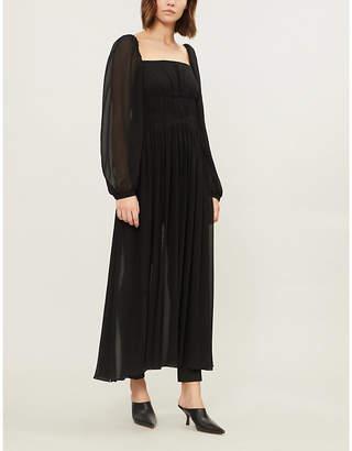 Stella McCartney Rachel puffed-sleeve silk-crepe de chine dress