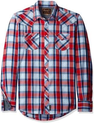 Wrangler Men's Big and Tall Retro Two Pocket Long Sleeve Snap Front Shirt