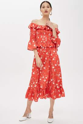 Topshop Shirred Floral Print Bardot Dress