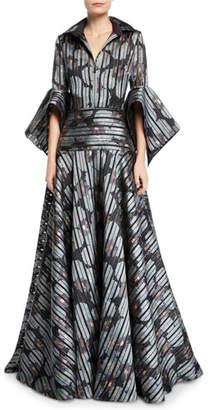 Badgley Mischka Striped Floral Shirtdress Gown