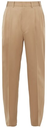 Gucci Pleated Front Wool Tapered Trousers - Mens - Beige