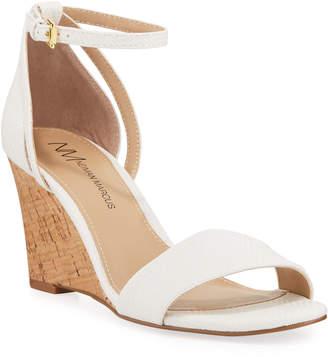 3d02462e20d Neiman Marcus Frankie Ankle-Strap Cork Wedge Sandals