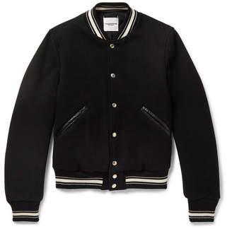 TAKAHIROMIYASHITA TheSoloist. Slim-Fit Leather-Trimmed Melton Wool Bomber Jacket
