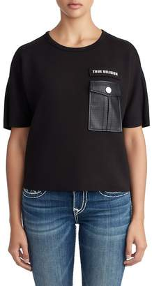 True Religion Faux Leather Pocket Tee