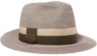 Eres Leone Grosgrain-trimmed Woven Paper Hat - Gray