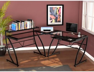 Symple Stuff Hinkson Glass L-Shape Desk Symple Stuff