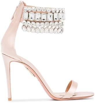Aquazzura Pink Gem Palace 105 satin sandals