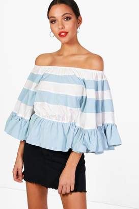 boohoo Striped Off The Shoulder Top