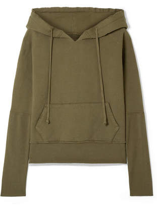 Nili Lotan Janie Distressed Cotton-jersey Hoodie - Army green