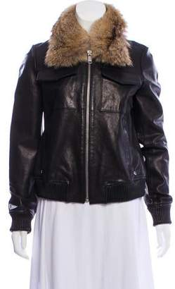 Andrew Marc Fur-Trimmed Leather Jacket