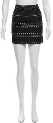 Veda Embellished Leather Mini Skirt