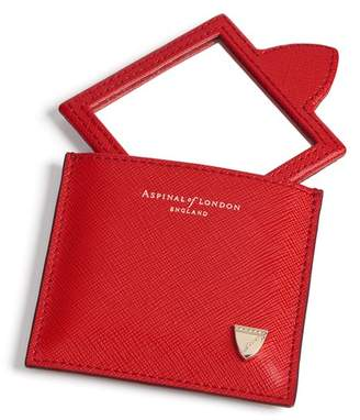 Aspinal of London Compact Mirror In Scarlet Saffiano