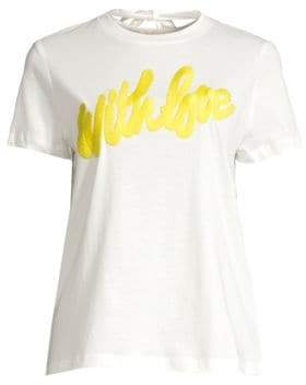 Maje Women's With Love Embroidered Tee - White - Size 3 (L)