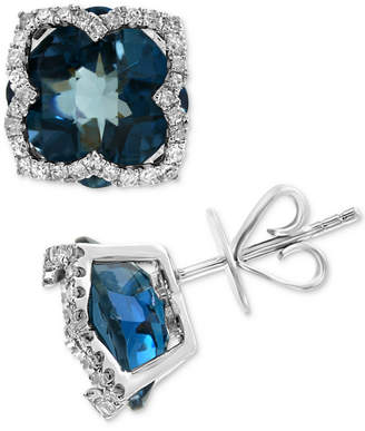 Effy London Blue Topaz (8-1/5 ct. t.w.) & Diamond (1/3 ct. t.w.) Stud Earrings in 14k White Gold