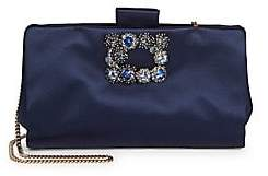 Roger Vivier Women's Flower Crystal Buckle Soft Satin Clutch