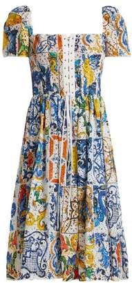 Dolce & Gabbana Majolica Print Cotton Broderie Anglaise Midi Dress - Womens - White Print