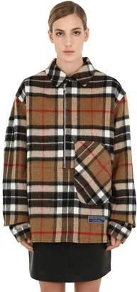 we11done We11 Done English Wool Check Plaid Shirt Jacket