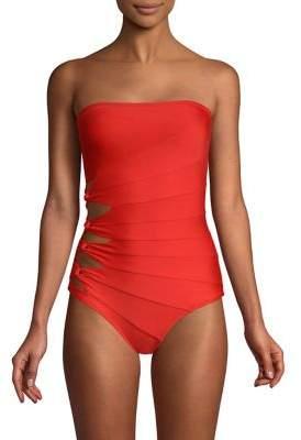 Carmen Marc Valvo One-Piece Bandeau Swimsuit