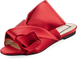 No.21 No. 21 Pleated Flat Satin Slide Sandal