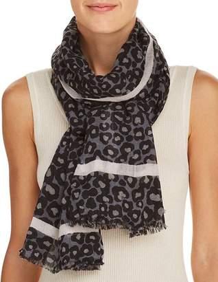 Aqua Leopard Print Wool Scarf - 100% Exclusive