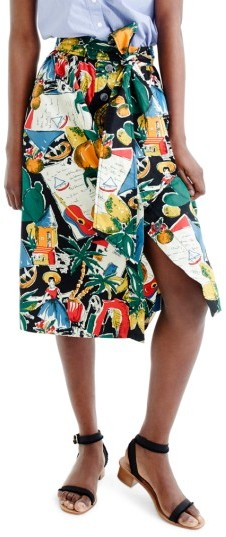 Women's J.crew Postcard Print Button-Up A-Line Skirt