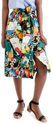 Women's J.crew Postcard Print Button-Up A-Line Skirt $89.50 thestylecure.com
