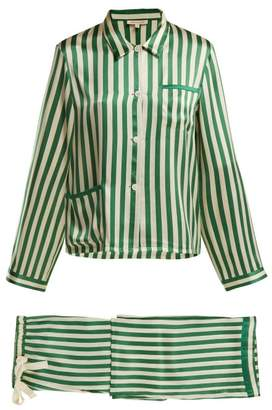 Morgan lane Lane - Ruthie Striped Silk Pyjama Set - Womens - Green Stripe