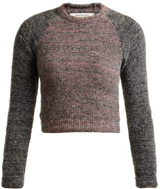Eckhaus Latta Raglan Sleeve Alpaca Blend Cropped Sweater - Womens - Grey Multi