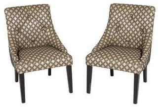 Pair of Leather & Velvet Upholstered Chairs