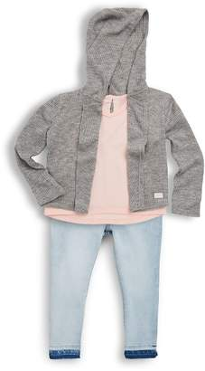 7 For All Mankind Little Girl's Cardigan, Tee & Jeans Three-Piece Set