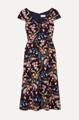 Peter Pilotto Floral-print Cady Midi Dress - Navy