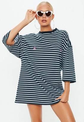 Missguided Navy Oversized T-Shirt Stripe Dress