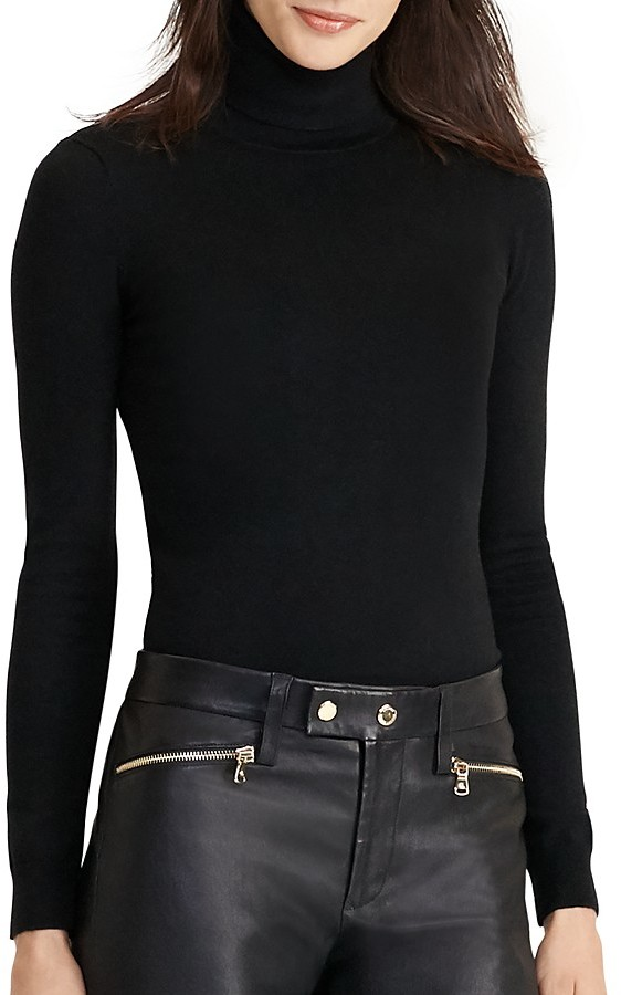 Lauren Ralph Lauren Stretch Silk Turtleneck Sweater